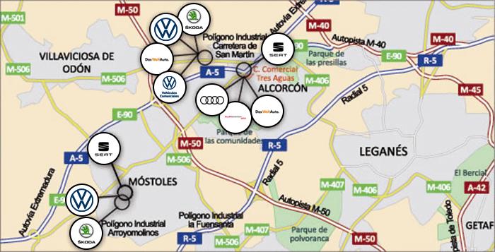 Mapa de situación de los concesionarios del Grupo Sealco